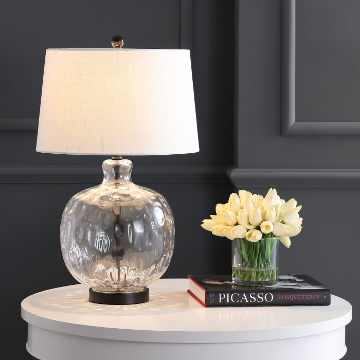 Glass/Metal Table Lamp, Clear/Black