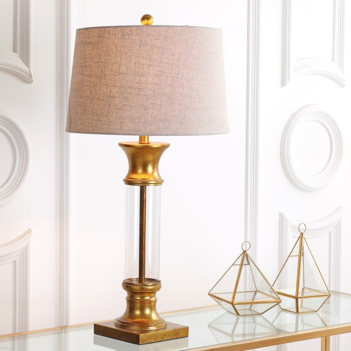 Metal and Glass Set of 2 Table Lamps