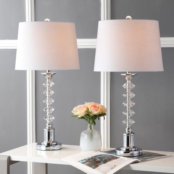 Crystal Table Lamp, Clear/Chrome (Set of 2)