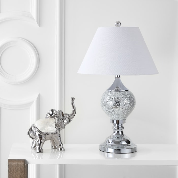 Mirrored Table Lamp, Silver/Chrome