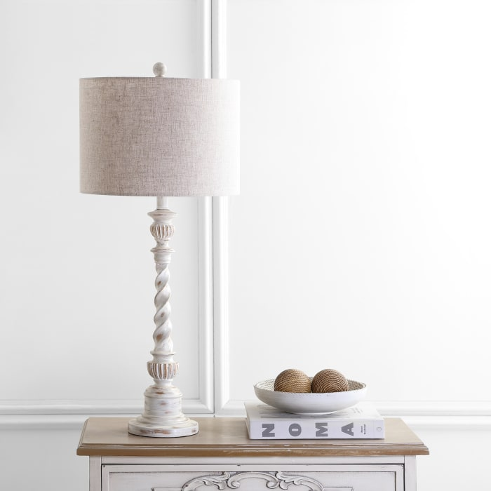 Rustic Resin Table Lamp, White Wash