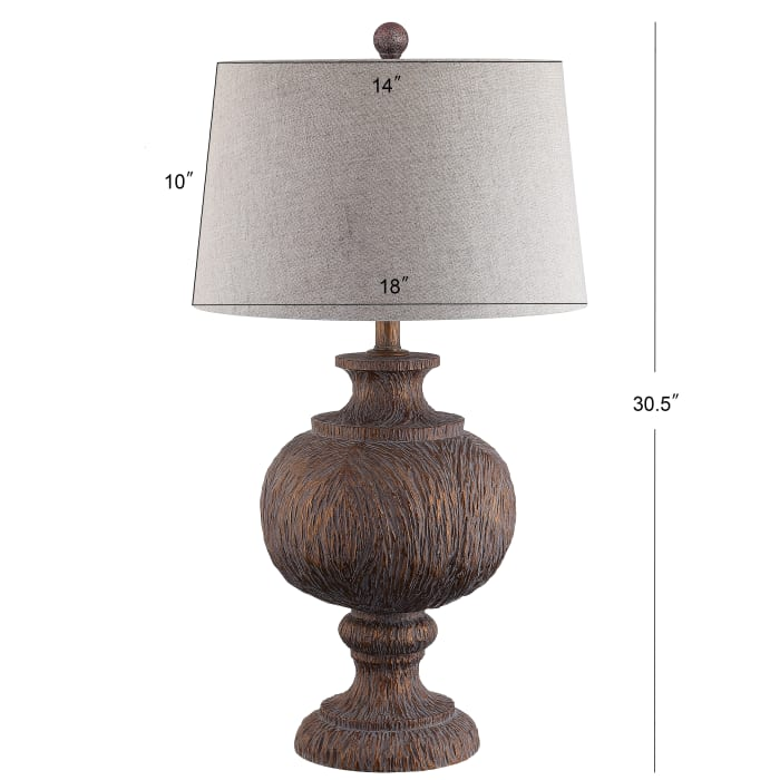 Resin Table Lamp, Dark Brown with Gray Shade