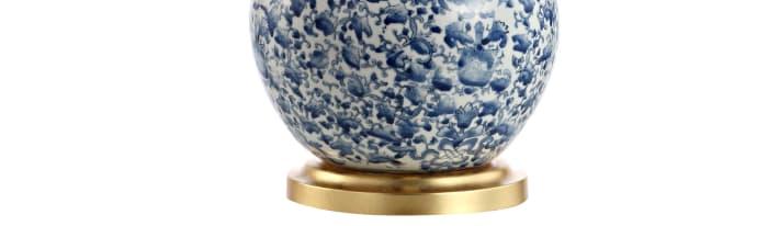 Ceramic/Iron Classic Cottage Table Lamp, Blue/White