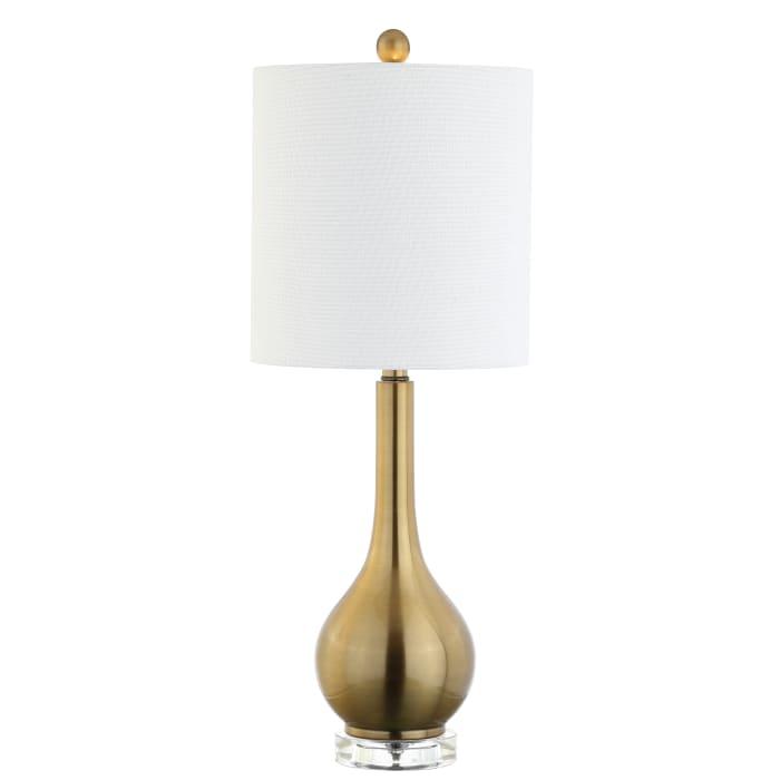 Metal/Crystal Teardrop Table Lamp, Brass
