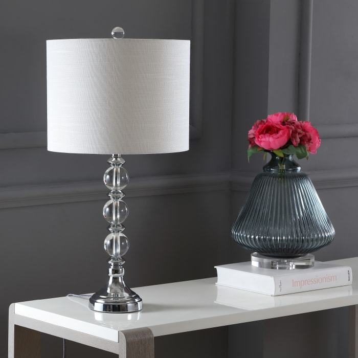 Crystal/Metal Table Lamp, Clear/Chrome (Set of 2)