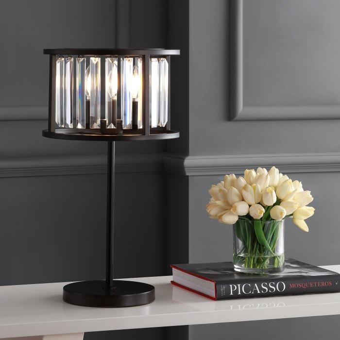 Metal & Crystal Table Lamp