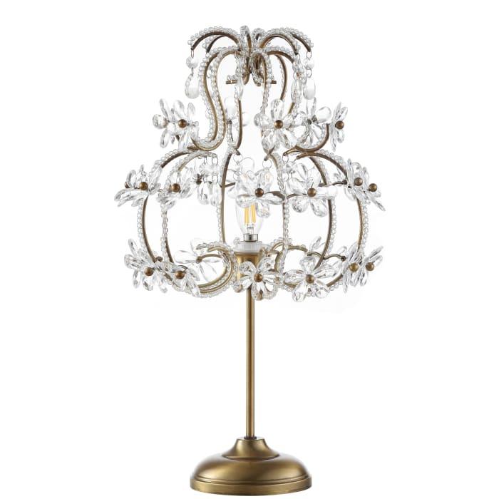 Crystal Flower Beaded Girandole Metal/Acrylic Table Lamp, Brass Gold/Clear