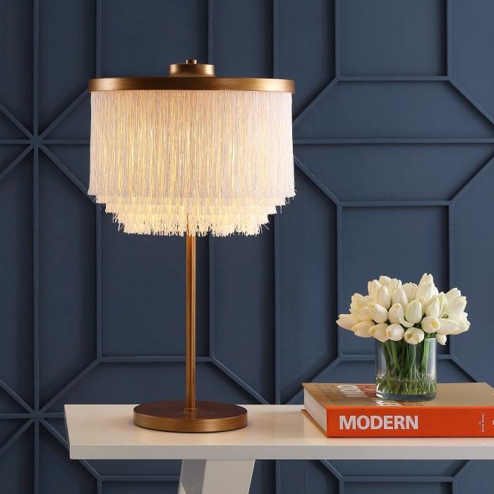 Fringed & Metal Table Lamp