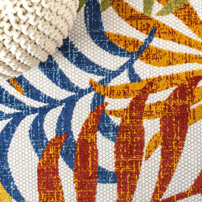 Tropics Palm Leaves Cream and Orange 4' x 6' Outdoor Area Rug