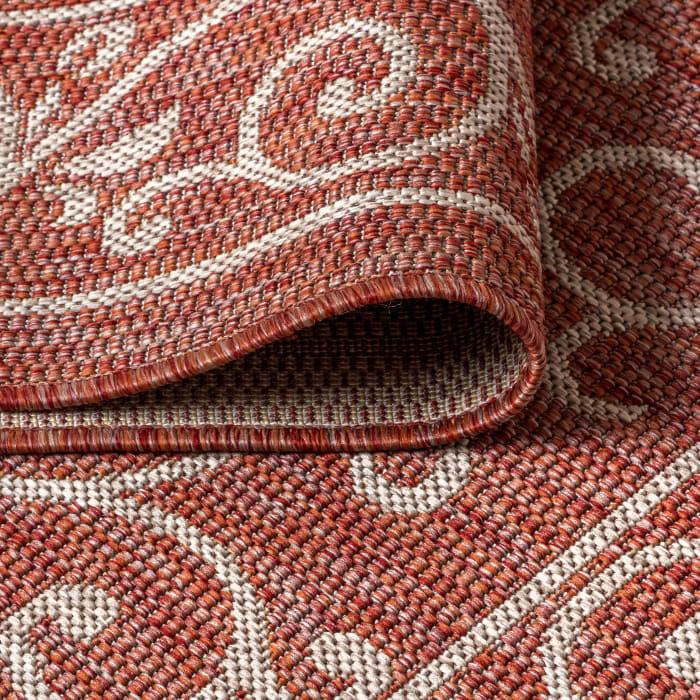 Vintage Filigree Textured Weave Outdoor Red/Beige 5' x 8' Area Rug