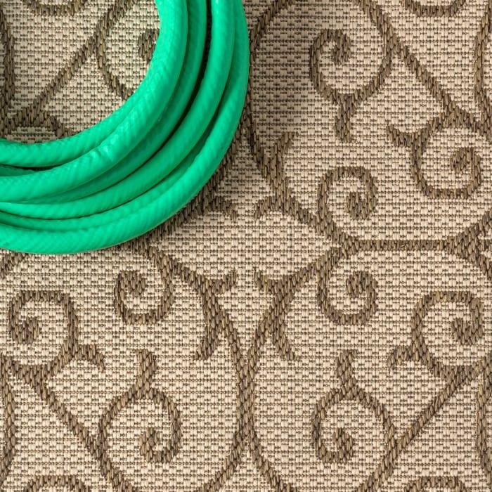 Madrid Vintage Filigree Textured Weave Beige and Brown 5.25' x 7.75' Outdoor Area Rug