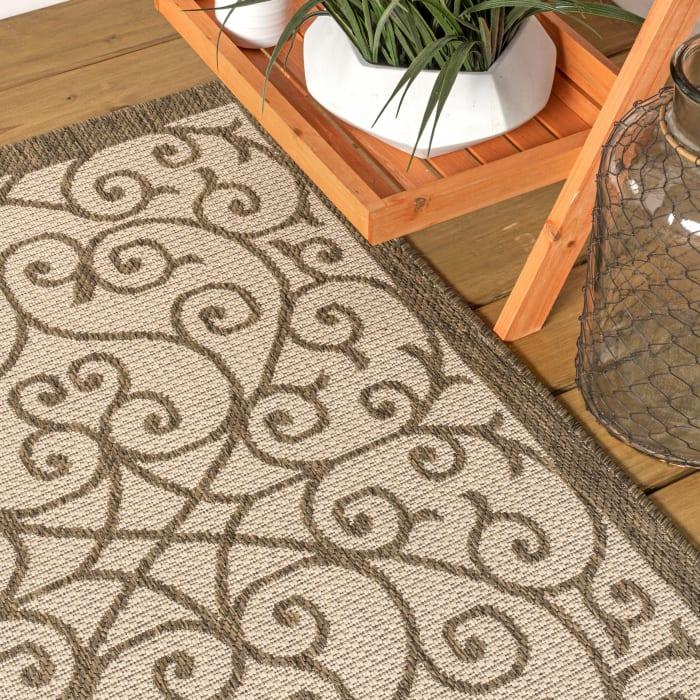 Madrid Vintage Filigree Textured Weave Outdoor Beige/Brown 8' x 10' Area Rug
