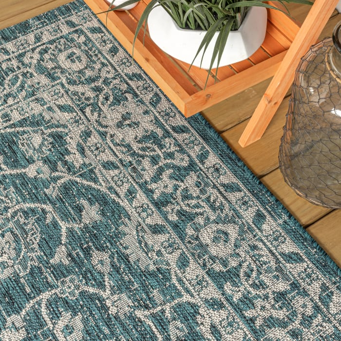 Vine and Border Textured Weave Outdoor Teal/Gray 4' x 6' Area Rug