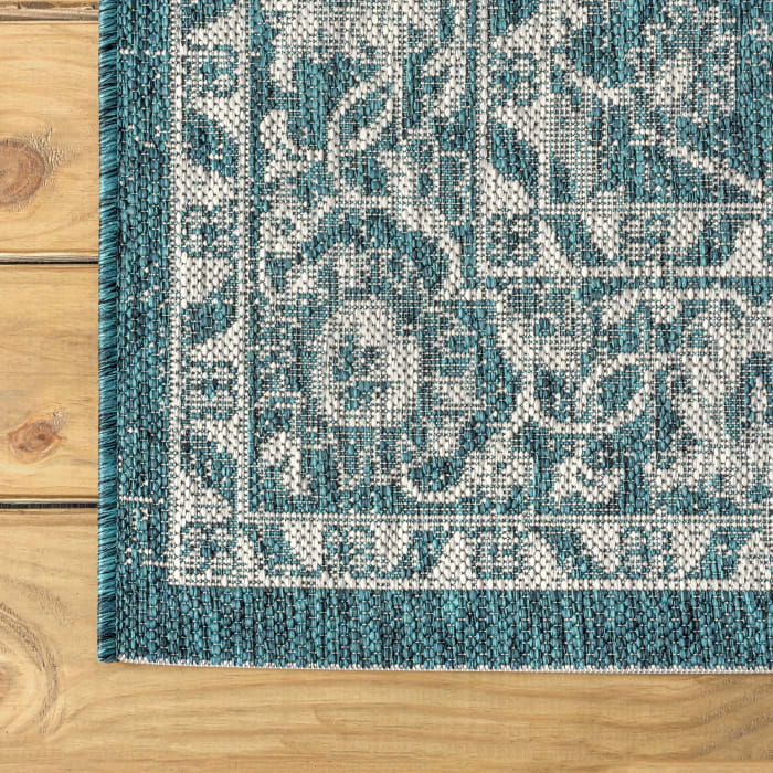 Vine and Border Textured Weave Outdoor Teal/Gray 5' x 8' Area Rug