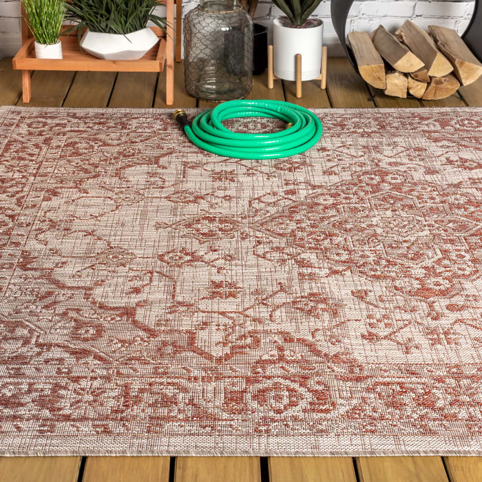 Boho Medallion Textured Weave Outdoor Red/Taupe 8' x 10' Area Rug