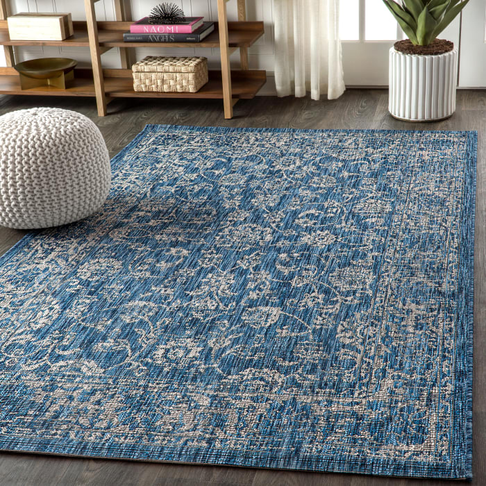 Bohemian Textured Weave Floral Outdoor Navy/Gray 8' x 10' Area Rug