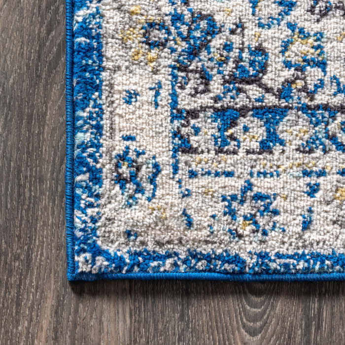 Bohemian FLAIR Boho Vintage Medallion Blue and Cream 4' x 6' Area Rug