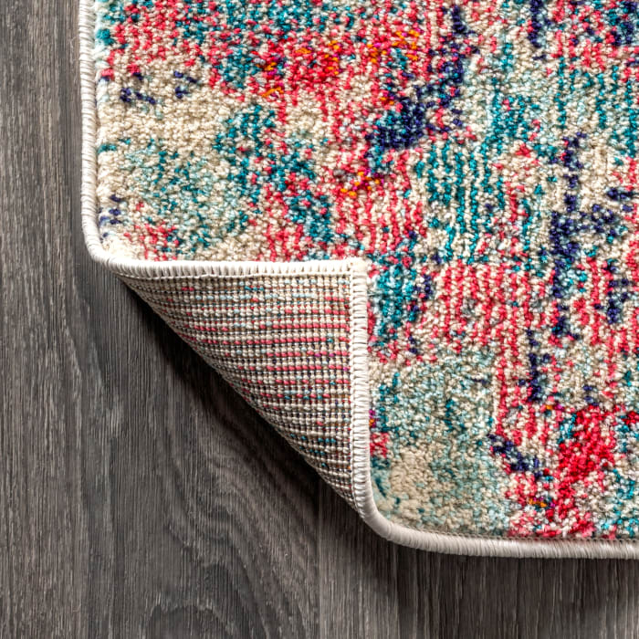 Contemporary Modern Abstract Blue/Red Area Rug