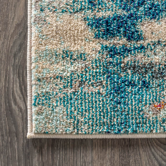 Contemporary Modern Abstract Brushstroke Cream and Blue  4' x 6' Area Rug