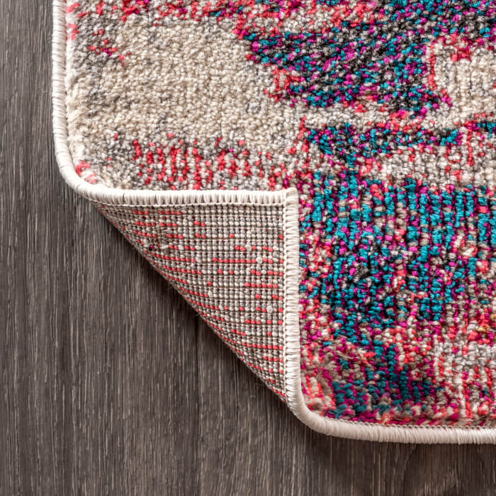 Contemporary Modern Abstract Brushstroke Pink and Cream 4' x 6' Area Rug