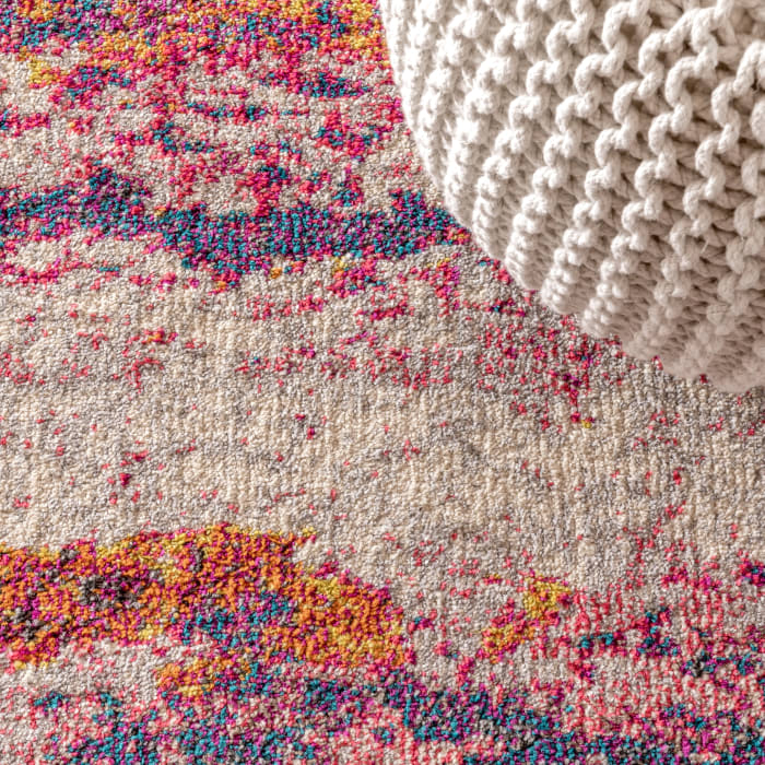 Contemporary Modern Abstract Brushstroke Pink and Cream 5.25' x 7.5' Area Rug