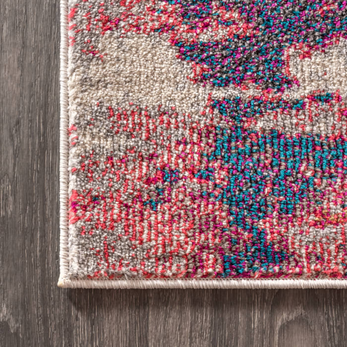 Contemporary Modern Abstract Brushstroke Pink/Cream Area Rug