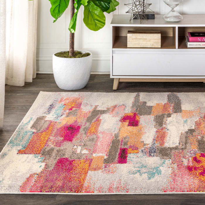 Contemporary Modern Abstract Brushstroke Cream/Pink 5' x 8' Area Rug