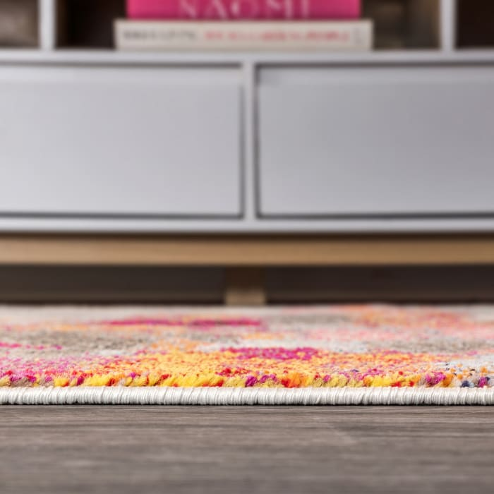 Contemporary Modern Abstract Brushstroke Cream/Pink Area Rug