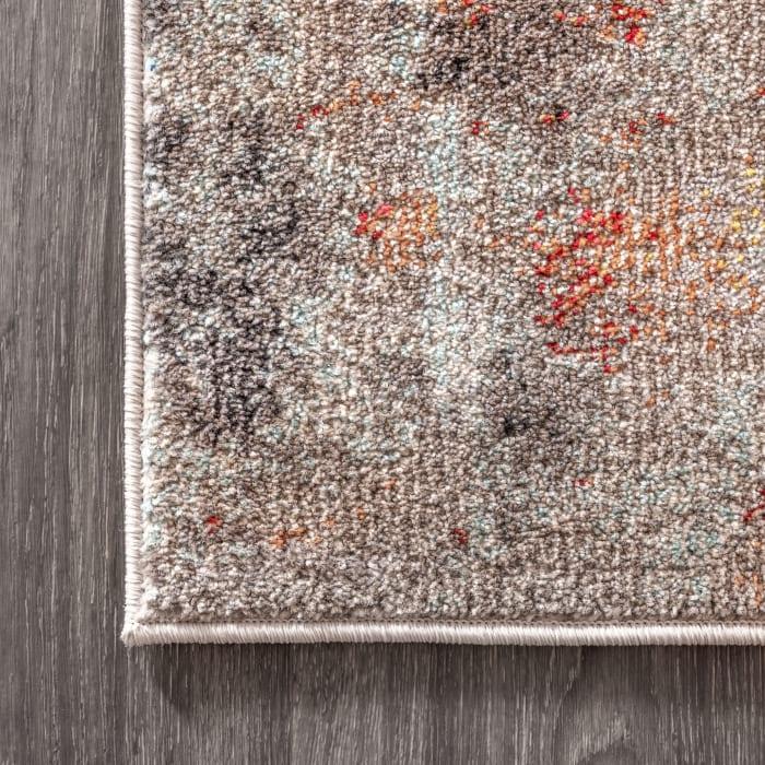 Contemporary Modern Abstract Vintage Cream/Orange Area Rug