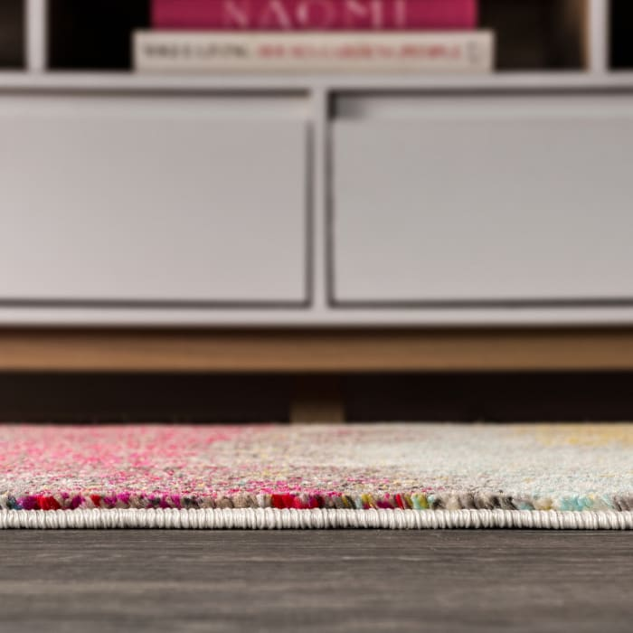 Contemporary Modern Abstract Vintage Cream/Pink 4' x 6' Area Rug
