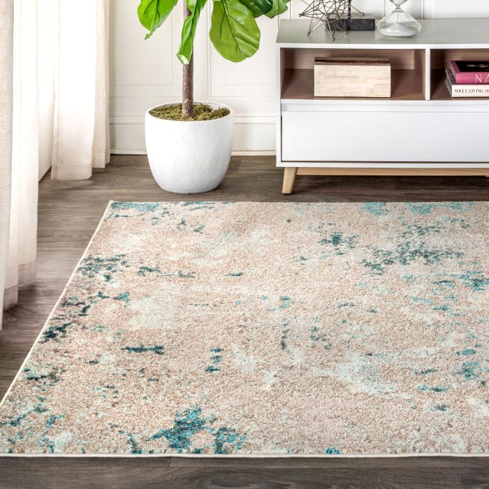 Contemporary Modern Abstract Vintage Faded Gray/Blue 4' x 6' Area Rug