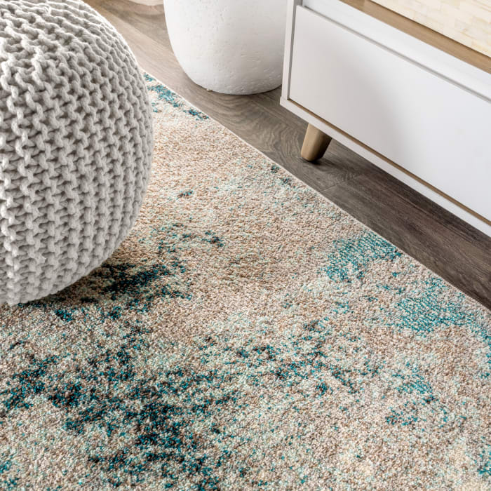Contemporary Modern Abstract Vintage Faded Gray and Blue Area Rug