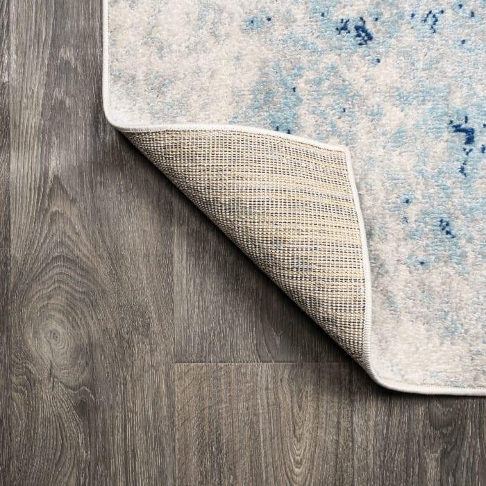 Modern Abstract Cream/Blue  5' x 8' Area Rug