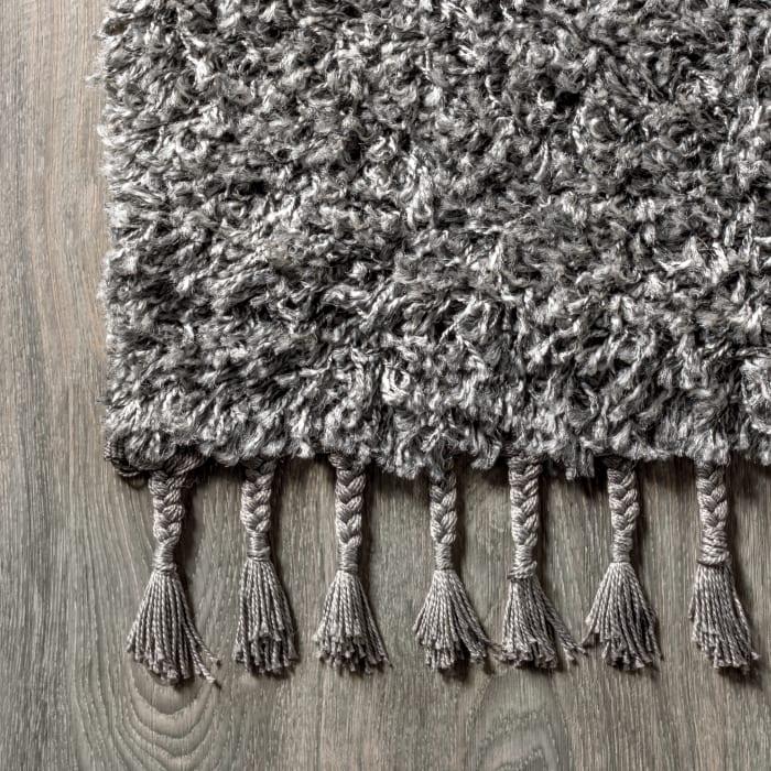 Shag Plush Tassel Charcoal 4' x 6' Area Rug