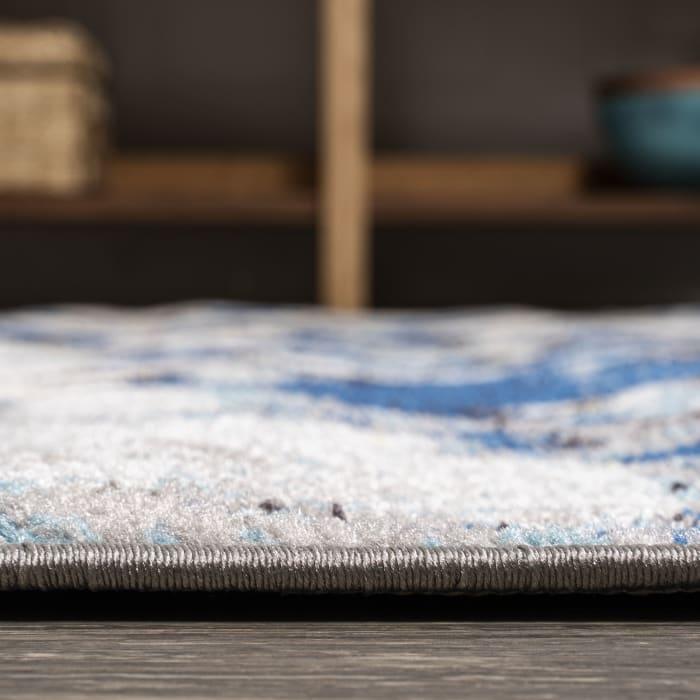 Navy & Gray Marbled Abstract Dark Gray/Blue 4' x 6' Area Rug