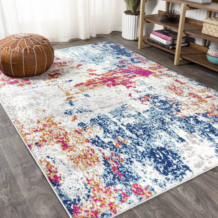 Sunset Modern Abstract Blue and Multicolor   4' x 6' Area Rug