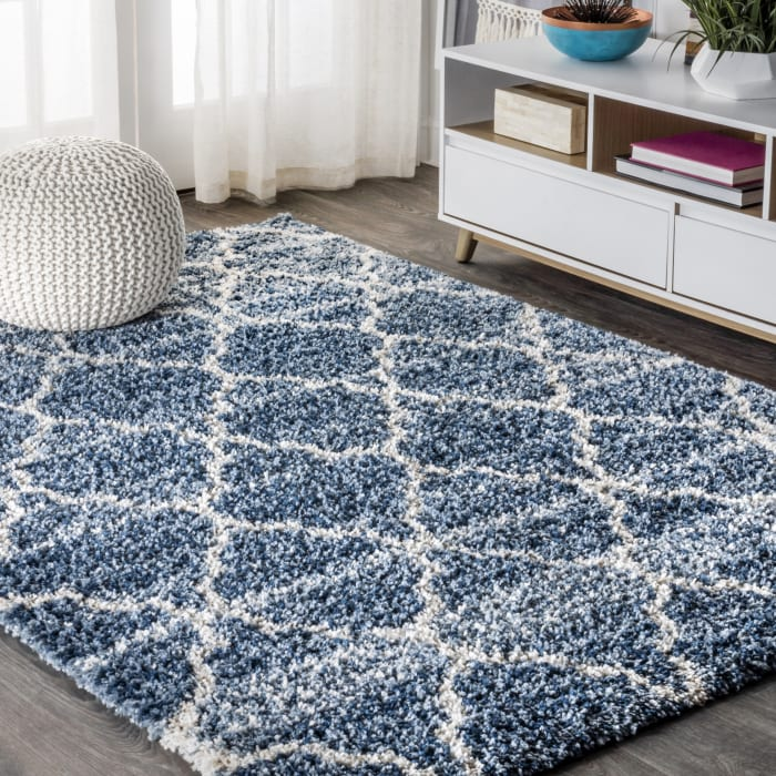 Ogee Moroccan Trellis Shag Indigo Blue/Ivory 4' x 6' Area Rug