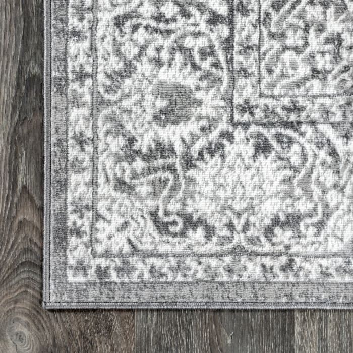 Modern Persian Vintage Medallion Light Grey 5' Square Area Rug