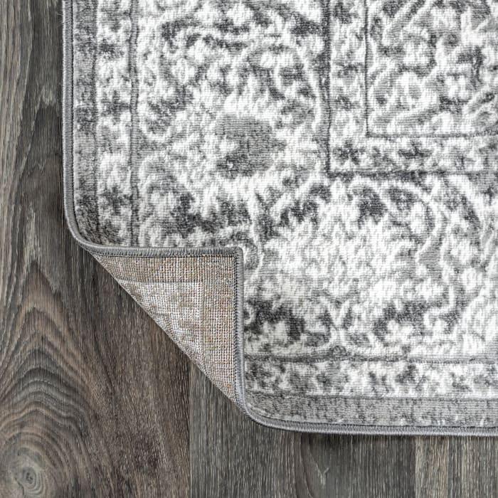 Modern Persian Vintage Medallion Light Grey 6' x 6' Square Area Rug