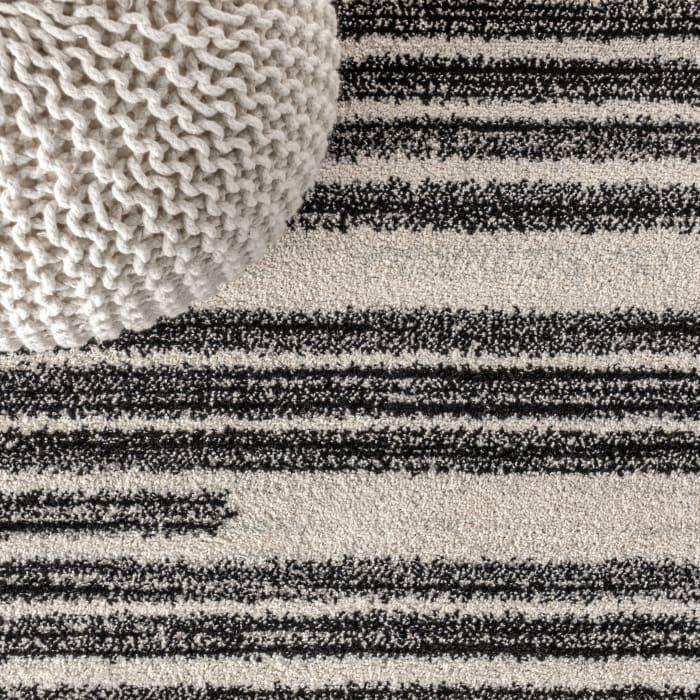 Modern Berber Stripe Cream/Black Area Rug