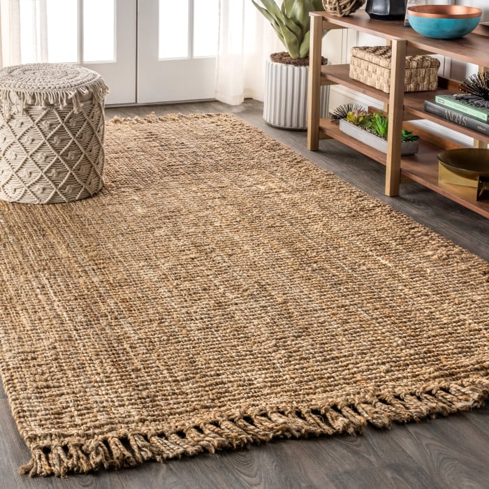 Hand Woven Chunky Jute with Fringe Natural 5' x 8' Area Rug