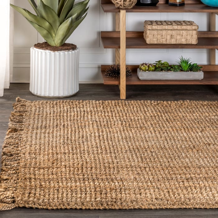 Hand Woven Chunky Jute with Fringe Natural Area Rug