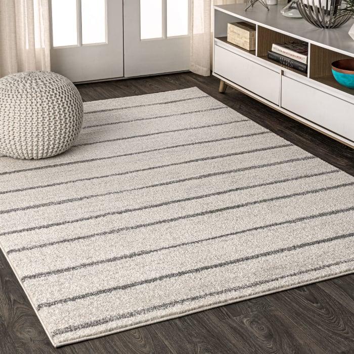 Minimalist Stripe Cream/Gray 5' x 8' Area Rug