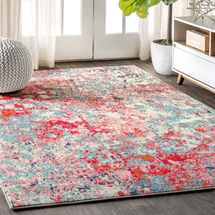 Contemporary POP Modern Abstract Blue/Red  3' x 5' Area Rug