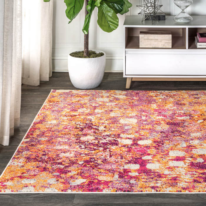 Contemporary POP Modern Abstract Pink/Orange 3' x 5' Area Rug