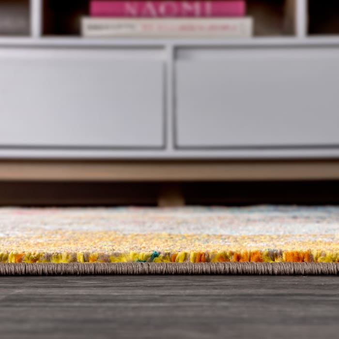 Contemporary POP Modern Abstract Multi/Yellow 2.25' x 8' Runner Rug