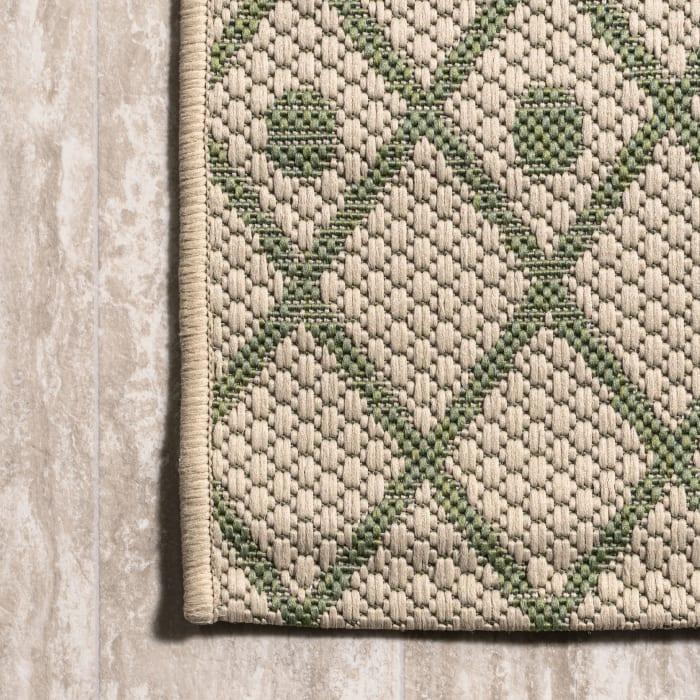 Boho Moroccan Outdoor Beige/Green Area Rug