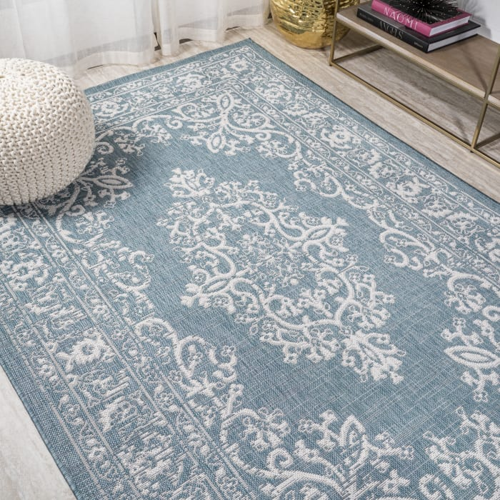 Galon Filigree Teal/Ivory 4' x 6' Outdoor Area Rug