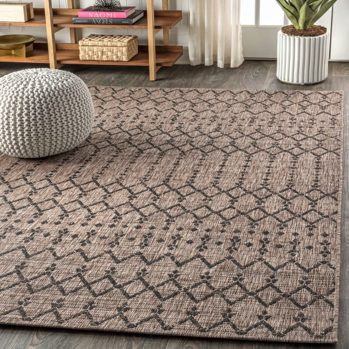 Moroccan Geometric Textured Weave Natural/Black Outdoor Area Rug