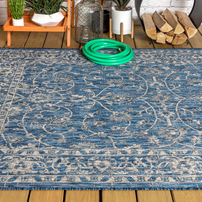 Vine and Border Textured Weave Outdoor Navy/Gray  Rug: 3' x 5' Area Rug